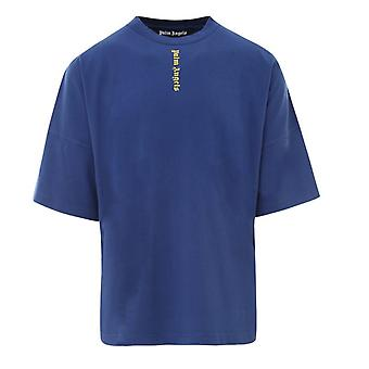 Palm Angels Gothic Print Logo Blue Oversize T-Shirt