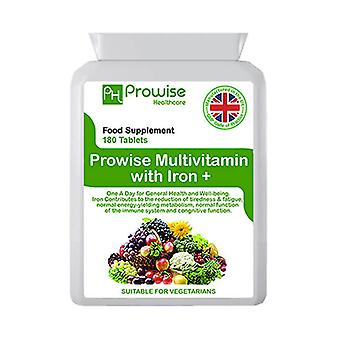 Multivitamins & Iron 180 Tablets (6 Months dose) | Suitable For Vegetarians | Made In UK by Prowise