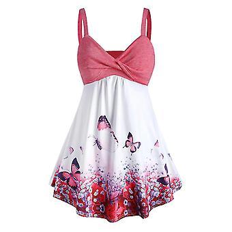 Ροζ 5xl γυναίκες συν μέγεθος πεταλούδα εκτύπωση δεξαμενή κορυφή φόρεμα cai1293