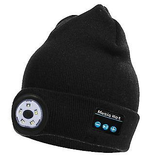 Čierna bluetooth pletená čiapka vonkajšia noc beží nočný rybolov led osvetlenie bluetooth lampa čiapka x2944