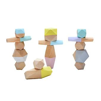 Children Wooden Colored Stone Stacking Game Building Block Educational Toy