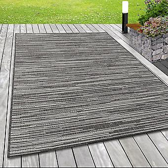 Tapis intérieur et extérieur LIVA Balcon Terrasse Sisal Look Flat Fabric Lines Motif