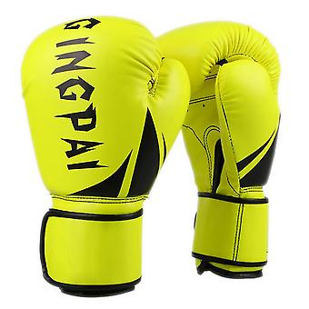 Fluorescent yellow boxing gloves pu leather adult boxing gloves dt912