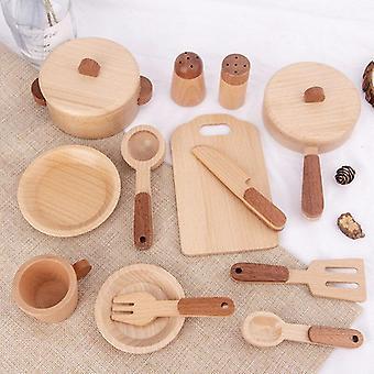 Børns log træ køkken legetøj sæt foregive spille simulering køkkenudstyr miniature mini mad pædagogiske legetøj gave til børn