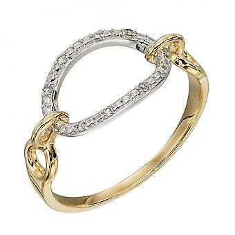 Elements Gold Oval Bar Diamonds Yellow White Gold Ring GR584