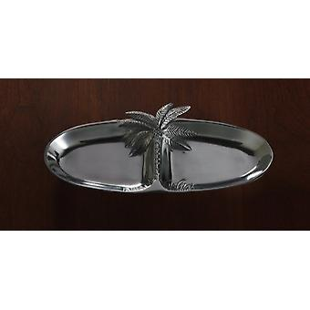 Oval Silver Palm Tree Two Section Serving Tray