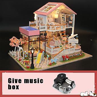 Muziek pop huis diy miniatuur 3d houten miniaturas dollhouse meubels bouwen villa kits speelgoed voor kinderen kerstcadeaus