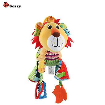 Lion Baby Hanging Toys Children Rattle Toys With Teether Mirror Bell Soft Plush Rattling Doll
