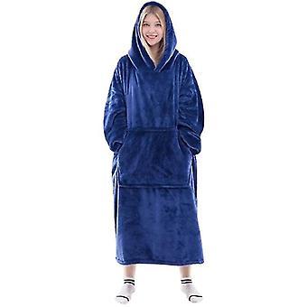 Uuden tyylin flanelli koralli sametti paksu lämmin pyjama syksy ja talvi hupullinen (DARKBLUE)