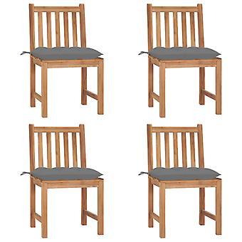 vidaXL sillas de jardín 4 piezas con cojín de madera maciza de teca