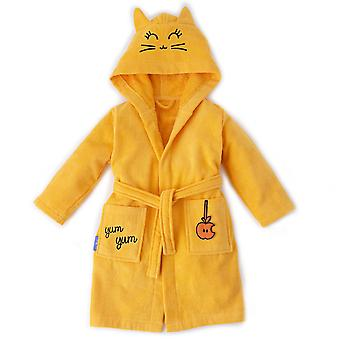 Milk&Moo Tombish Cat Toddler Robe, Kids Robe, 100% Cotton Kids Bathrobe, Ultra Soft and Absorbent Hooded Bathrobe for Girls and Boys, Orange Color, Suitable for 2-4 Years