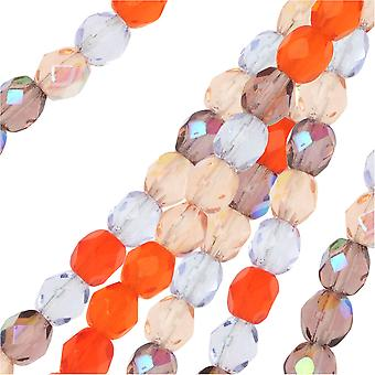 Czech Fire Polished Glass Beads, Faceted Round 4mm, 100 Pieces, Melon Berry Mix