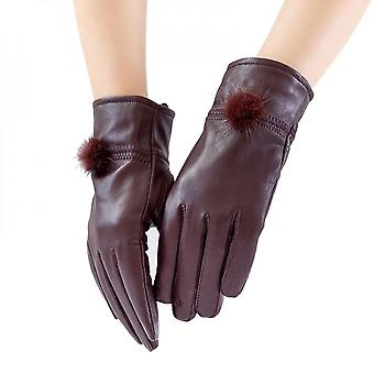 Mimigo Womens Classic Winter Warm Driving Hairsheep Leather Gloves 100% Pure Cashmere Lined With Natural Mnk Fur Pompom