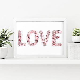 Love Word Art, Wall Print   Valentine's or Anniversary Gift   A4 w/ White Frame