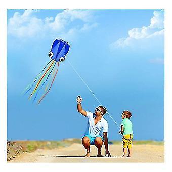 Aquiloni polpo grandi 4 m, coda lunga bella facile volantino aquiloni spiaggia aquiloni, per volare (blu)