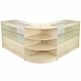 Retail Counter Maple Shop Display Opslagkasten Glazen Planken Showcase Orion