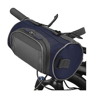 自転車ハンドルバーバッグ、防水自転車バスケット自転車フロントストレージバッグ、透明ポーチタッチスクリーン付き、ロードバイク、マウンテンバイク、オートバイ用の取り外し可能なショルダーストラップ(青)