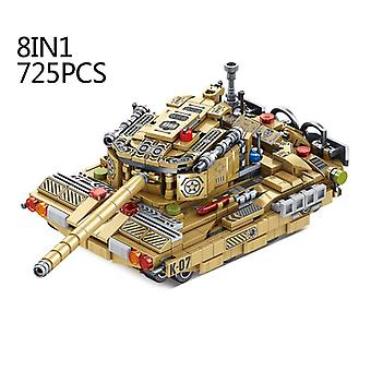 Modern Military 8w1 Wheeled Tank Building Block Fighter Armored Car Missile Mine Destruction