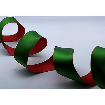 Juletrådkantet bånd 1,5 tommer bredt 1 meter - rød og grønn reversibel