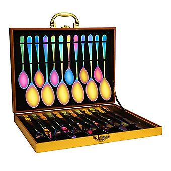 24 Pieces Kitchen Cutlery Set 410 Stainless Steel Rainbow Finished