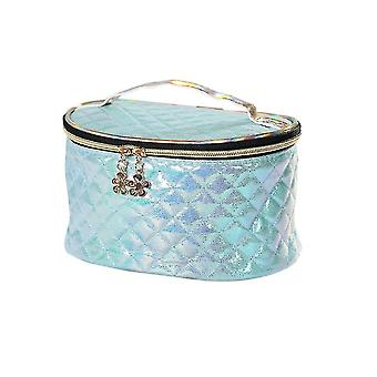 Cosmetic toiletry bags light weight and portable oval makeup bag 21x15.5X12.3Cm blue