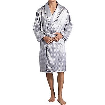 Homemiyn Men's Homewear Pajamas Plaid Lace Pajama Robe Silver Grey Nightgown