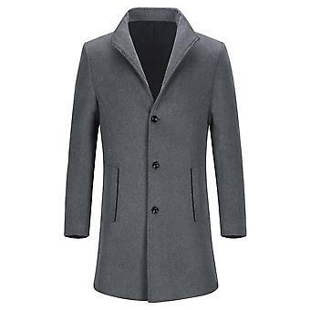 Yunyun Herren Wolle Mischung Casual Mantel Einreihiger Brust Mittellanger Mantel