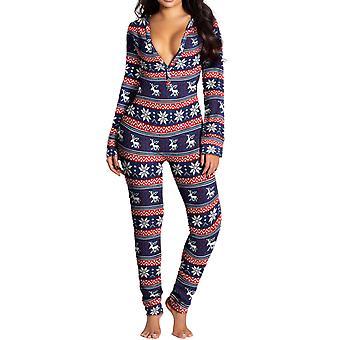 Women's Christmas Printing Bodysuit Long Sleeve Skinny Jumpsuit Casual Rompers