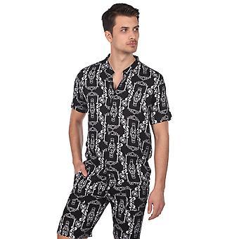 menns mønstret kortermet skjorte svart