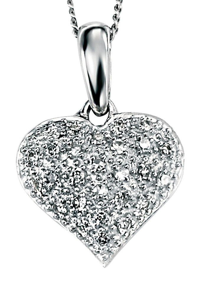 9 CT White Gold With Diamond Heart Necklace