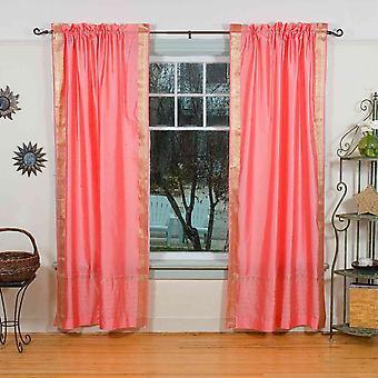 Rosa puro Sari tenda a bastone / drappo / pannello - coppia