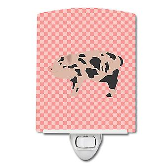 Carolines Treasures  BB7935CNL Mini Miniature Pig Pink Check Ceramic Night Light