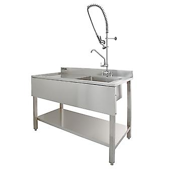 Commercial Sink Catering Keuken LH Drainer 1.0 Bowl & Pre-Rinse Spray Mixer Tap