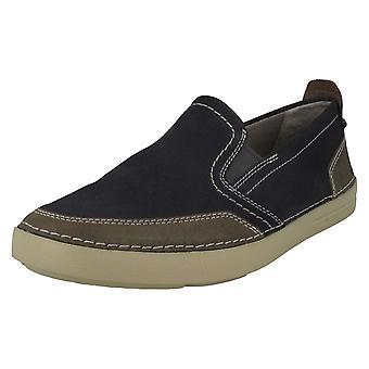 Mens Clarks Casual Slip On Shoes Gosler Race - Blue Suede - UK Size 7.5G - EU Size 41.5 - US Size 8.5M