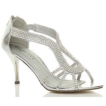 Ajvani womens mid high heel zip strappy wedding evening prom bridal sandals shoes