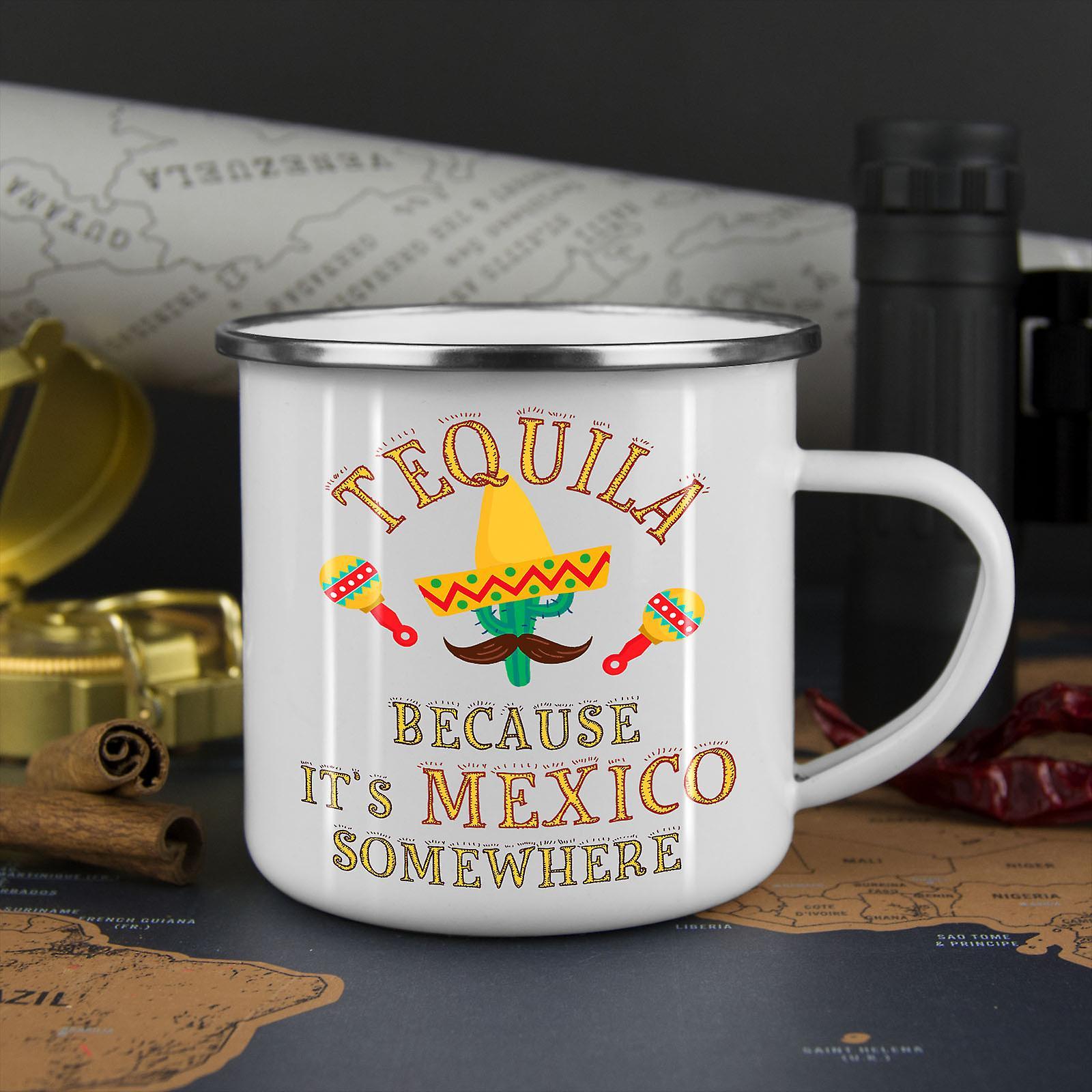 Tequila Mexiko Kaktus neue WhiteTea Kaffee Emaille Mug10 oz | Wellcoda