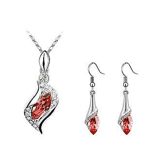 Women's Beautiful Fire Orange Crystal Necklace & Earrings Jewellery Set BGCW0065