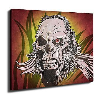 Monkey Skeleton Skull Wall Art Canvas 40cm x 30cm | Wellcoda