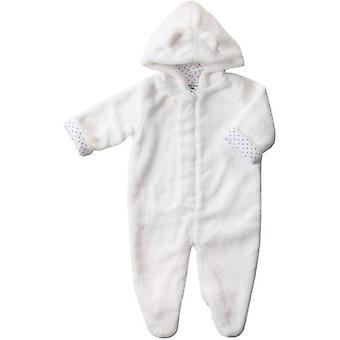 Angel Dear fuzzy footie All In One Outerwear (White  Newborn)