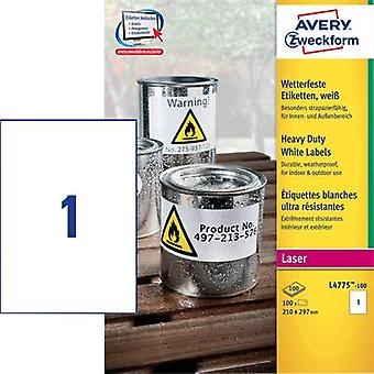 Avery-Zweckform L4775-100 Labels 210 x 297 mm Polyester film White 100 pc(s) Permanent All-purpose labels, Weatherproof labels