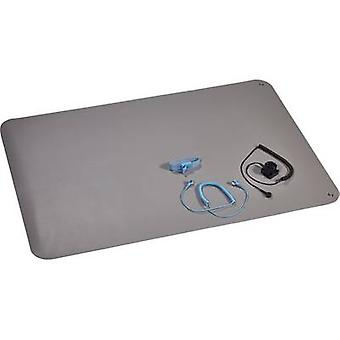 Wolfgang Warmbier 1400.663.C ESD bench mat set Platinum grey (L x W) 900 mm x 610 mm incl. PG cable, incl. PG connector, incl. PG strap, incl. cable