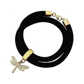 Damen - Armband - Wickelarmband - 925 Silber - Vergoldet - Libelle - Schwarz