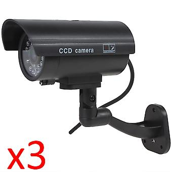 Kabalo 3 x Realistic Fake Dummy CCTV Security Camera Flashing Red LED Indoor Outdoor Black