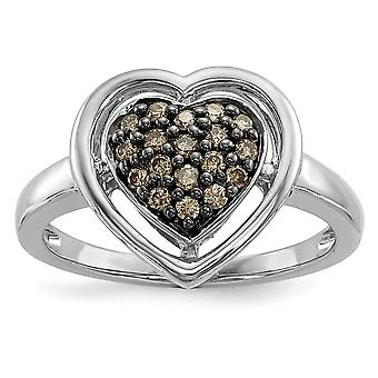 925 Sterling Silver Champagne Diamond Love Heart Ring Jewelry Gifts for Women - Ring Size: 6 to 8