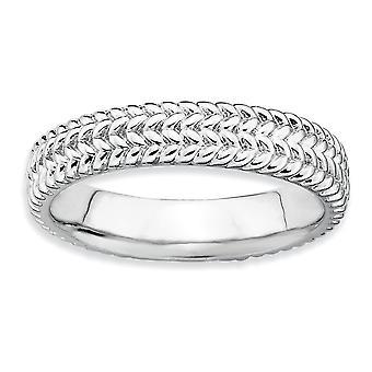 925 Sterling Sølv Teksturert Polert Mønstret Stables Uttrykk Rhodium Ring Smykker Gaver Til Kvinner - Ring Størrelse: