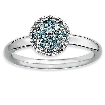 925 Sterling Silber poliert Prong Set Rhodium vergoldet stapelbare Ausdrücke blau Topas Rhodium Ring Schmuck Geschenke für Wo