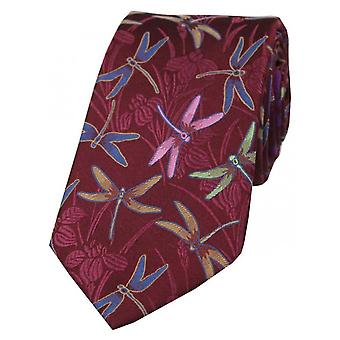 Posh and Dandy Dragonfly Silk Tie - Wine