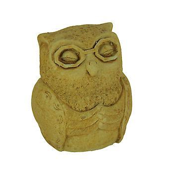 Concepteur Pierre récolte jaune Zen Owl Statue en béton