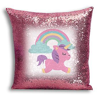 i-Tronixs - Unicorn Printed Design Rose Gold Sequin Cushion / Pillow Cover for Home Decor - 4