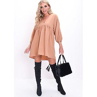 Oversized Gathered Babydoll Dress Camel Brown